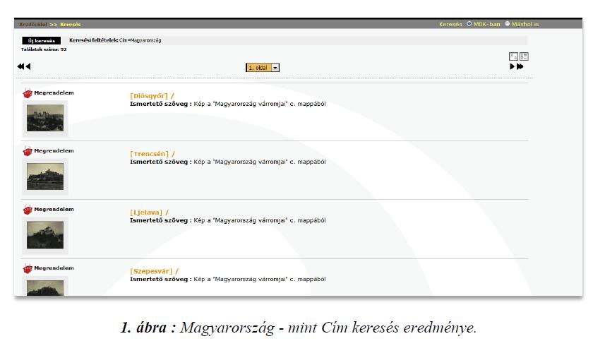 1. ábra : Magyarország - mint Cím keresés eredménye.