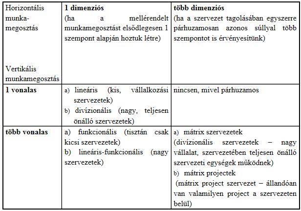 Szervezeti típusok